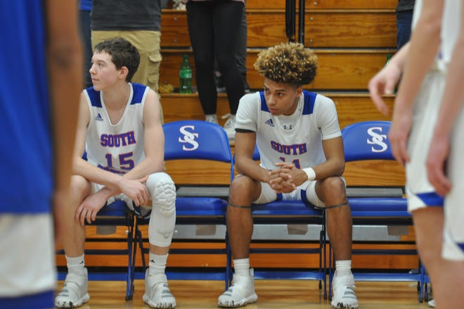 South Spencer's Jace Kelly waits to hear his name announced during the starting lineup introductions before Saturday's game against Heritage Hills.