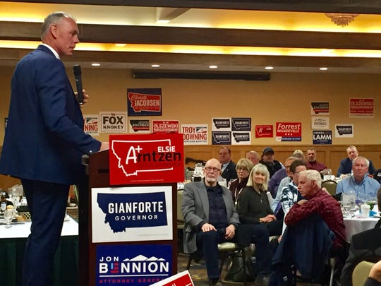 Ryan Zinke speaks Saturday to Republicans attending the Cascade County Republican Central Committee Lincoln-Reagan Dinner in Great Falls.
