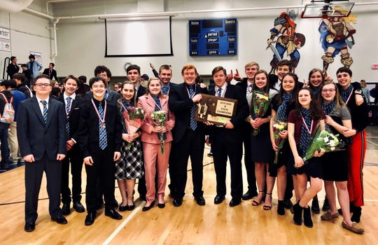 The Great Falls Central Catholic High School Speech, Debate and Drama team, from left to right: David Marler, Aiden Holden, Noah Schmit, Sterling Chargois, Thersea Voeller, Antonio Jacobson, Trinity Holden, Kade Belderain, Quin Pray (Award), Avery Holden (award), Colby Aderhold, Alexis Wigdorski, Emerson Shepard, Kylie Bickel, Adrianne Purpura, Ella Walters, Mae Kimmel, Lara Marin.