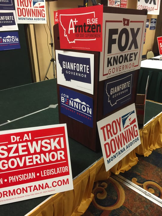 Candidates had signs blanketing the room at Saturday's Cascade County Republican Party Central Committee Lincoln-Reagan Dinner in Great Falls.