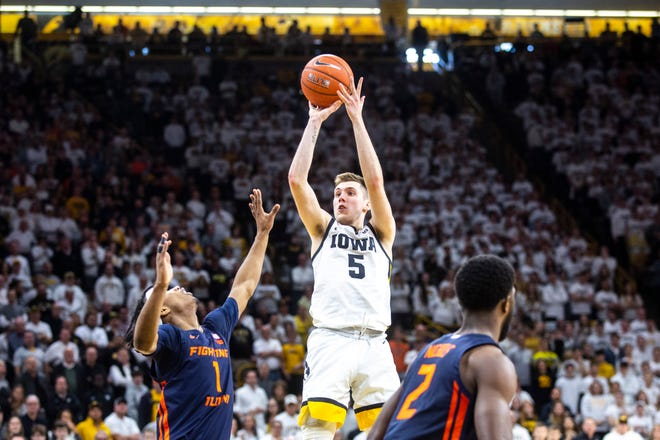 CJ Fredrick is shooting 46.7% from 3-point range this season for the Hawkeyes. He has missed six games and parts of two others with injuries.