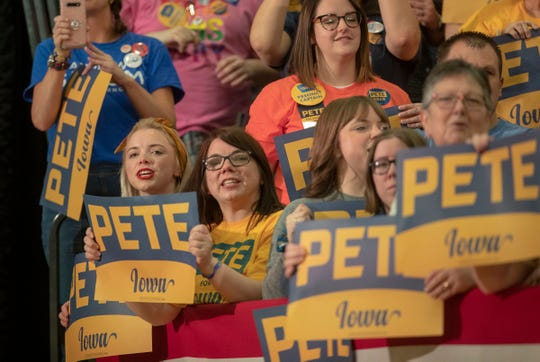 Supporters of Pete Buttigieg watch as he campaigned at Lincoln High School in Des Moines, Iowa, Sunday, Feb. 2, 2020. The event is in advance of Monday's Iowa Democratic caucuses, the first event as the party chooses their nominee for president.