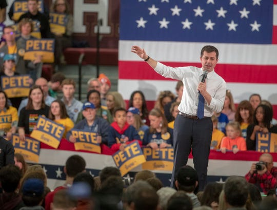 Pete Buttigieg campaigned at Lincoln High School in Des Moines, Iowa, Sunday, Feb. 2, 2020. The event is in advance of Monday's Iowa Democratic caucuses, the first event as the party chooses their nominee for president.