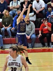 Bloom-Carroll's Nikki Bradbury shoots a 3-pointer against Fairfield Union. Bradbury scored 21 points and made six 3-pointers but it wasn't enough in a 52-40 loss to the Falcons Saturday night.