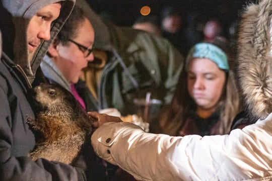 Buckeye Chuck's handlers from Kokas Exotics in Prospect gave folks the chance to interact with Marion County's most famous whistlepig during the annual Groundhog Day celebration on Sunday at the IHeartMedia Marion studios. Chuck predicted an early spring this year.