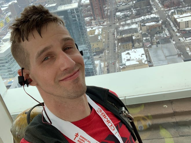 Elijah Krajewski will participate in his seventh Fight for Air Climb on March 7. This is the view from the top of the 47-floor climb.