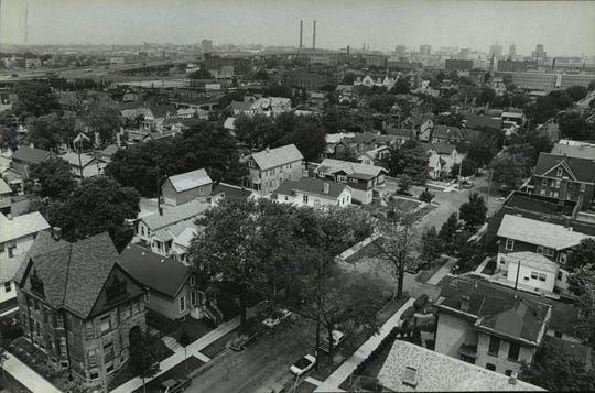 Part of Walker's Point is seen from high in the Allen-Bradley Co. clock tower in 1981. The neighborhood today is the most intact collection of 19th-century buildings in Milwaukee.