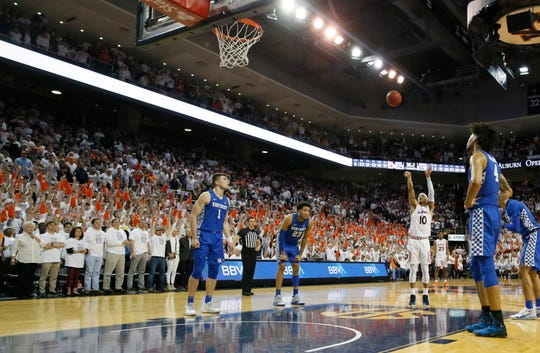 Auburn guard Samir Doughty (10) shoots a free throw in the final seconds against Kentucky at Auburn Arena on Feb. 1, 2020.