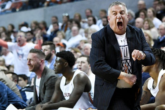 Auburn coach Bruce Pearl complains about the lack of a call against Kentucky during the first half of an NCAA college basketball game Saturday, Feb. 1, 2020, in Auburn, Ala. (AP Photo/Julie Bennett)