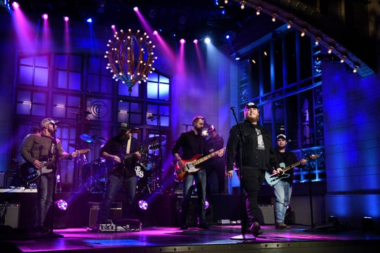 """""""Saturday Night Live"""" musical guest Luke Combs performs on Feb. 1, 2020."""