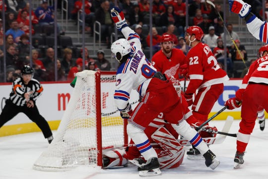 Feb 1, 2020; Detroit, Michigan, USA; New York Rangers center Mika Zibanejad (93) celebrates his goal in the first period against the Detroit Red Wings at Little Caesars Arena. Mandatory Credit: Rick Osentoski-USA TODAY Sports