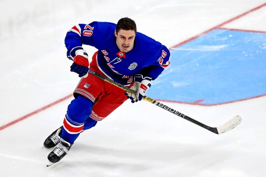 Jan 24, 2020; St. Louis, Missouri, USA; New York Rangers forward Chris Kreider (20) during the fastest skater competition in the 2020 NHL All Star Game Skills Competition at Enterprise Center. Mandatory Credit: Aaron Doster-USA TODAY Sports