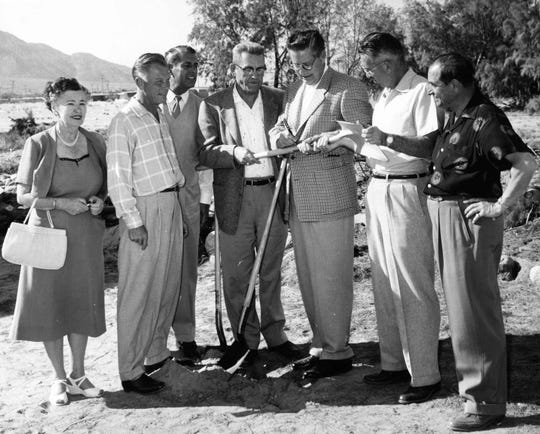 Groundbreaking for Palm Springs City Hall February 9, 1956 with Ruth Hardy and Earl Strebe.