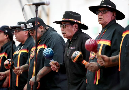 Morongo Band of Mission Indians participate in Agua Caliente's annual Singing of the Birds event held at Palm Springs High School in Palm Springs, Calif., on Saturday, February 1, 2020.