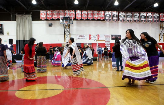 Tribal dancers perform during Agua Caliente's annual Singing of the Birds event held at Palm Springs High School in Palm Springs, Calif., on Saturday, February 1, 2020.