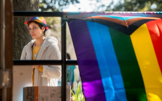 LGBT leaders hold a rally Sunday at Seville Square in Pensacola in protest of anti-LGBT bills in the state Legislature. Speakers included Dr. Alexys Hillman, one of the only physicians in the area who openly treats transgender patients with hormone replacement therapy.