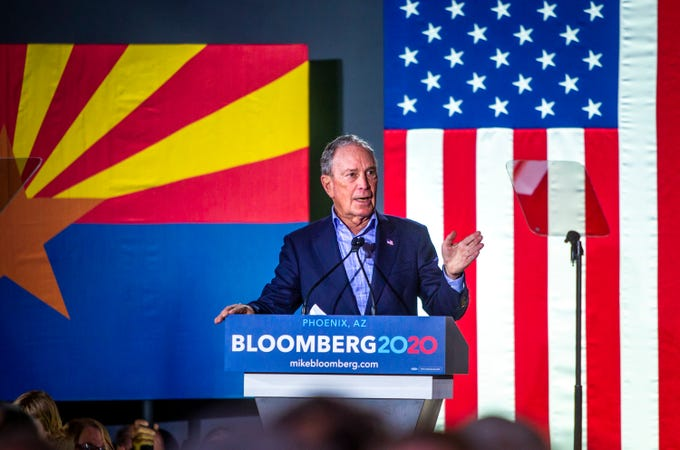 Michael Bloomberg speaks at a 2020 presidential campaign rally in Phoenix on Saturday, Feb. 1, 2020.
