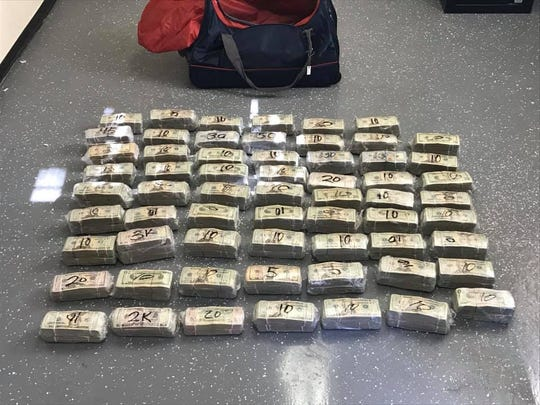 Glendale Police Department K-9 Marley alerted on a duffel bag containing $800,000 in cash in the backseat of a vehicle stopped for speeding on Jan. 23, 2020, near 47th Avenue and Bethany Home Road, police said.