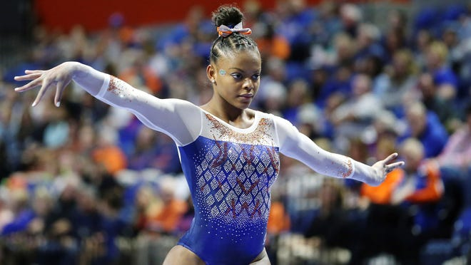 West York's Trinity Thomas, seen here in a file photo, is enjoying a standout sophomore season for the Florida gymnastics team, which is ranked No. 2 in the nation.