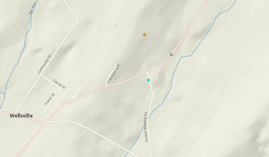 According to the U.S. Geological Survey, the first earthquake hit about 2:55 p.m. on Saturday, near Quaker Meeting Road, just below Carlisle Road in Warrington Township (blue dot). The second quake occurred about 4:37 a.m. on Sunday. It was just north of the first one, between Lisburn and Carlisle roads (orange dot).