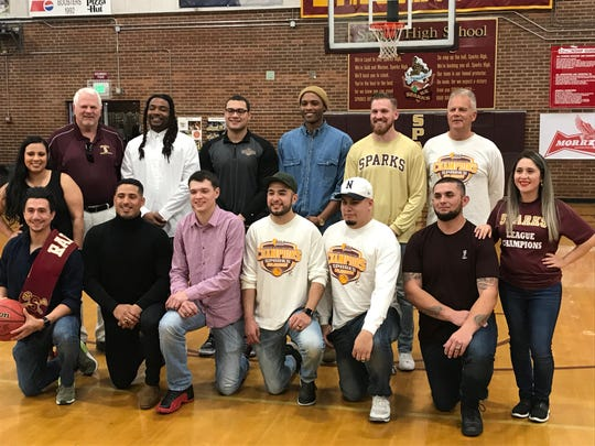 The Sparks boys basketball team that won state in 2009-10 had a reunion on Saturday at halftime of the Sparks vs Spring Creek game.