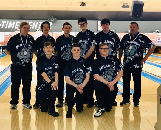 The Centerville bowling team placed sixth at the Indiana High School Bowling State Finals on Saturday, Feb. 1, 2020. Front row, left to right: Patrick Hoch, Cones Hunter and Hunter Morgan. Back row, left to right: Head coach Mike Downing, Mitch French, Dylan Mollo, Jeremy Devers, Noah Strate and assistant coach Mike Barth.