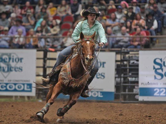 Stephenville's Alyssa Urbanek competes in the barrel racing event on the third day of competition at the San Angelo Stock Show and Rodeo on Saturday, Feb. 1, 2020.