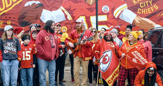 "Chiefs fans from the Kansas City metro area, rural Kansas, southern Missouri and close to the Iowa border all helped film the video for the Rhatigan Brothers' song, ""Our Chiefs Kingdom Prayer."""