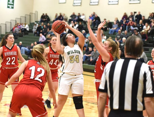 Wilson Memorial's Serenity Stacy puts up a shot against Riverheads in a Shenandoah District girls basketball game in Fishersville Saturday, Feb. 1