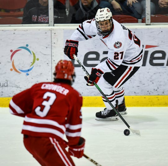 St. Cloud State's Chase Brand controls the puck during the first period of the Saturday, Feb. 1, 2020, game at the Herb Brooks National Hockey Center in St. Cloud.