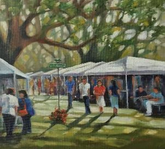 """Under the Oaks"" Painting by Kelly Rysavy. Kelly Rysavy currently lives in Tallahassee and St. George Island, Florida."