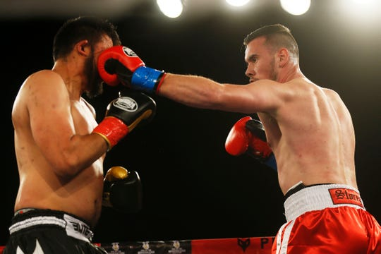 Jack Storey boxes Omar Acosta Saturday, Feb. 1, at Inn of the Mountain Gods in Mescalero, N.M. Storey won by unanimous decision.