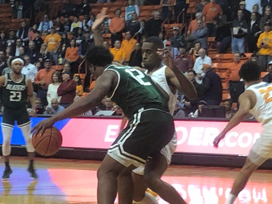 UAB's Will Butler drives against UTEP's Bryson Williams Saturday's at the Don Haskins Center