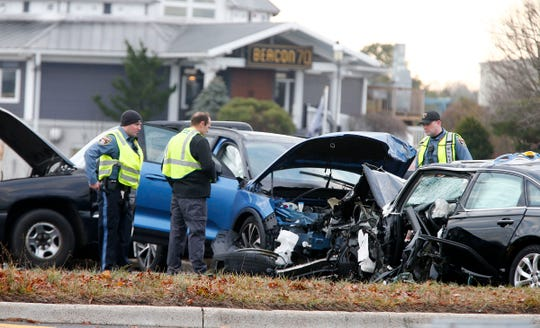 Brick Township Police investigate a head-on collision involving three cars on Rt 70 eastbound, just past Brick Boulevard, in the township early Monday morning.