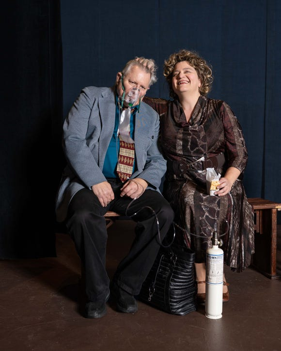 """Paul Adkins and Rana Teresa Tan rehearse a scene from the comedy """"Dearly Departed,"""" which completes its run at Bremerton Community Theatre with three shows this weekend."""
