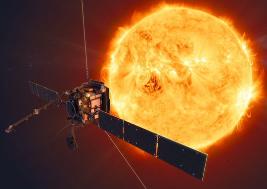 Artist rendition of Solar Orbiter probe studying the sun.