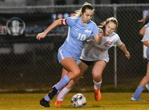 Madisin Cicchetti of Rockledge is pursued by Edgewood's Erica Parker during a game.
