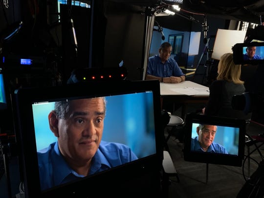 Florida Today News Columnist and Podcaster John A. Torres being interviewed by Erin Moriarty of 48 Hours for a piece about Crosley Green.
