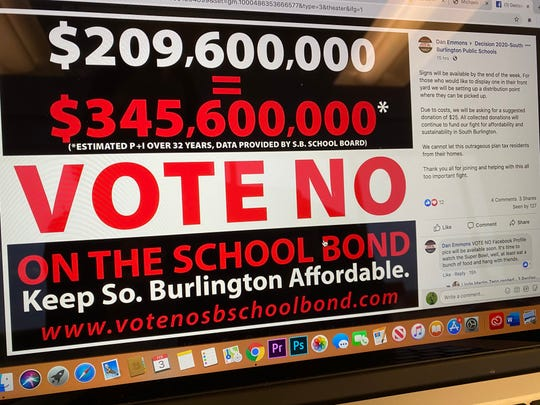 'Vote No' signs have been created by South Burlington group who wants residents to vote no on the $209.6 million school construction bond on the ballot on Town Meeting Day