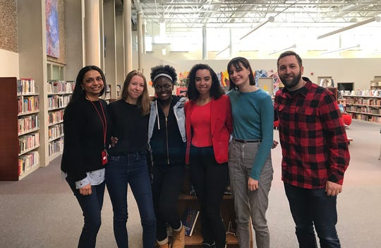 Faculty advisors and student leaders of Racial Alliance Committee at Champlain Valley Union High School. From left to right: social studies teacher Bageshree Balsius, students Carolina Sicotte, Christel Tonoki, Elyse Martin-Smith and Courtney McDermott, and librarian Peter Langella.