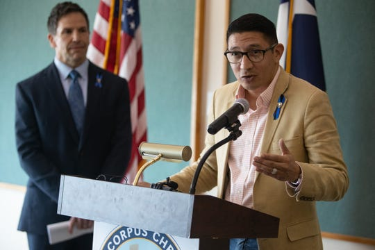 At right, Ben Molina, Dist. 2 City Council member, announced city staff will recommend a Dallas company to design the new the Cole Park Pier. He spoke about the improvements during a press conference with City Manager Peter Zanoni on Monday, Feb. 3, 2020.