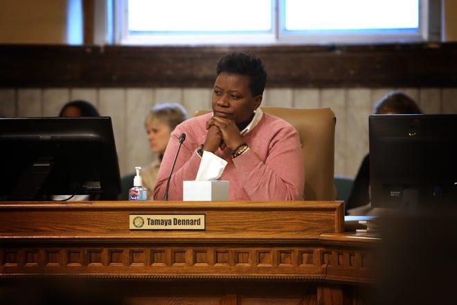 Tamaya Dennard, a member of Cincinnati City Council, listens during a meeting on Tuesday, January 29.