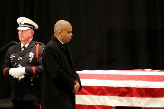 The public pays their respects to Hamilton County Commissioner Todd Portune, Monday, Feb. 3, 2020, at the Duke Energy Convention Center in Cincinnati. Portune died Jan, 25, 2020, at his home in Green Township.