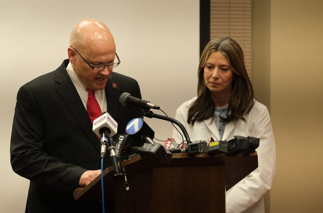 Miami University President Gregory Crawford and Dr. Amy Acton, then Ohio's health director, announce two MU students suspected of having the new coronavirus tested negative in Oxford, Ohio Sunday, Feb. 2, 2020.