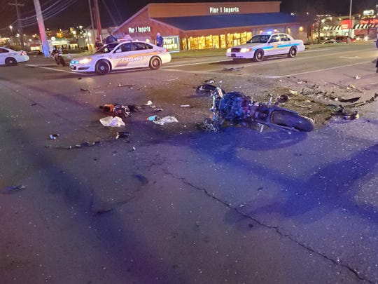 The motorcycle that was involved in a wreck on Wilma Rudolph Boulevard on Sunday, Feb. 2, 2020.