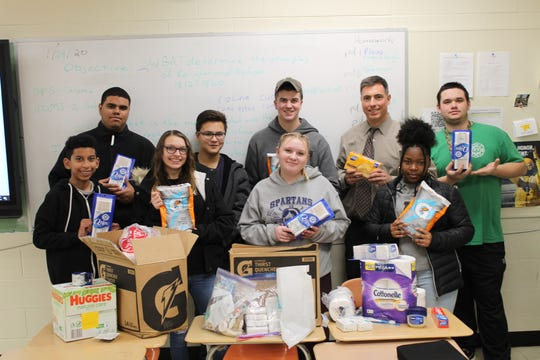 Posing with some of the donated items are (back, left to right) SCVTHS students Kendall Porras of Bound Brook, Jacob Shum of South Bound Brook, Justin Kopecky of Bound Brook, Ed Graf, Will Smith of Somerset. (Front, left to right): Evan Linen of Somerset, Brianna Sites of Manville, Jordyn Stahl of Bridgewater and Diyara Cody of North Plainfield.