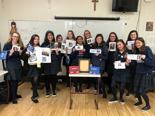 Mount Saint Mary Academy students participated in an Iowa Cancus simulation