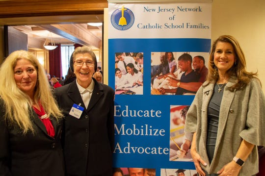 (From left) Kim Chorba, director, NJ Network of Catholic School Families, and Government Funded Programs; Sister Mary Louise Shulas, principal, St. Augustine of Canterbury School; and Assemblywoman Serena DiMaso meet before the presentation at the Statehouse on Jan. 27.