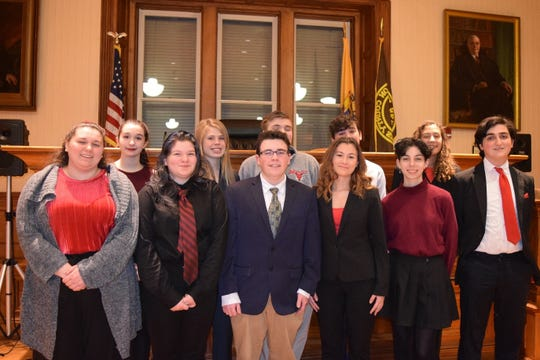 The 2020 Voorhees Mock Trial Team. (Top row, left to right) Livia Connell, Madison Davis, Tyler Cashman, Andrew Ranallo and Keira Vitale. (Bottom row, left to right) Lily Phillips, Sarah Yerkes, Christian Palmisano, Fallyn Smadi, Allyson Serritella and Gabriel Hanley.