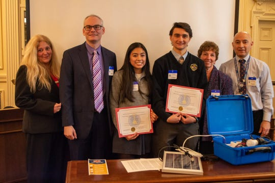Immaculata High School students are recognized at the Statehouse on Jan. 27 for their solar suitcase STEM project.